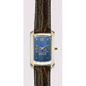 Curved Rectangle Style Gold Watch w/ Brown Alligator Leather