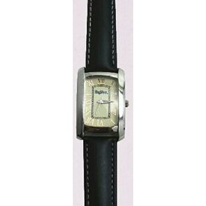 Curved Rectangle Style Silver Watch w/ Black Padded Leather Band
