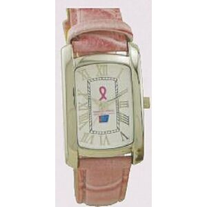 Designer Series Rectangle Contour Watch w/ Pink Cuff Bracelet