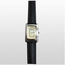 Curved Rectangle Style Gold Watch w/ Padded Leather Band