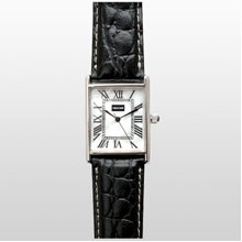 Traditional Rectangle Style Silver Watch w/ Alligator Leather